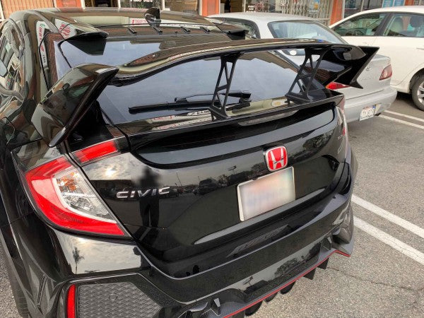 17-18 HONDA CIVIC 5DR TYPE-R REAR TRUNK SPOILER ADD ON STABILIZER SET BLACK