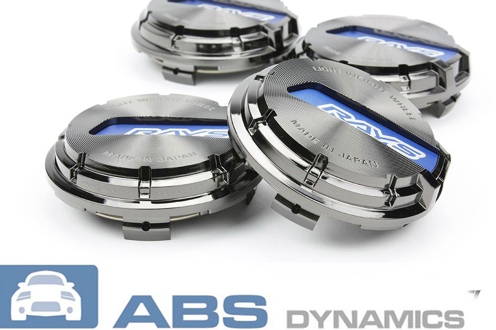 RAYS GRAM LIGHTS GL WHEELS CENTER CAPS BLACK CHROME WITH BLUE (SET OF 4)