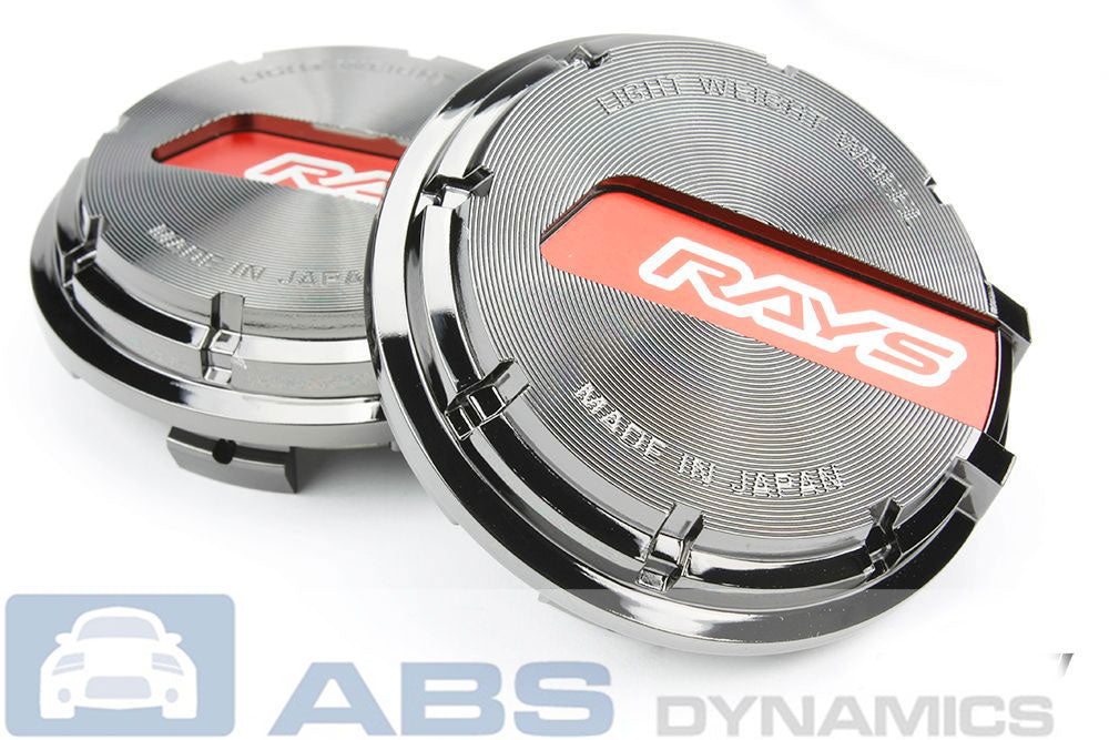 RAYS GRAM LIGHTS GL WHEELS CENTER CAPS BLACK CHROME WITH RED (SET OF 4)