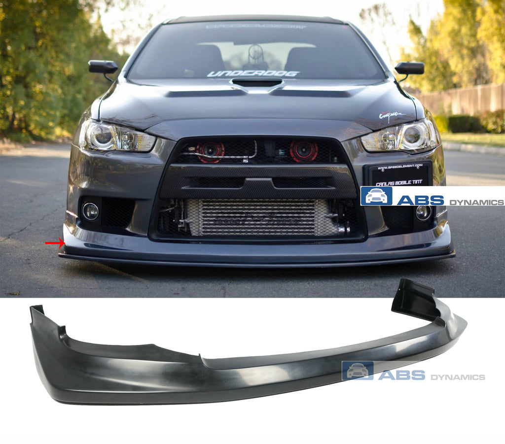 2008-2014 MITSUBISHI EVO X 10 VT- STYLE FRONT LIP PU BLACK UNPAINT (ONLY FIT ON EVO BUMPER)