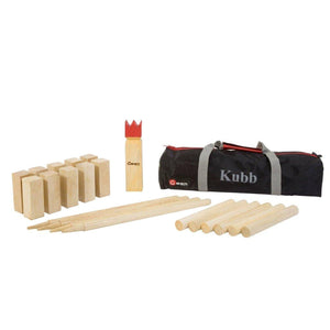 Kubb Traditional Swedish 12 Inch King Wooden Game with Carrying Bag Uber Games - LawnGames