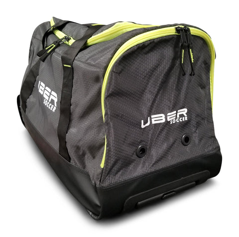 Uber Soccer Team Kit Bag with Trolley - Green and Black - LawnGames