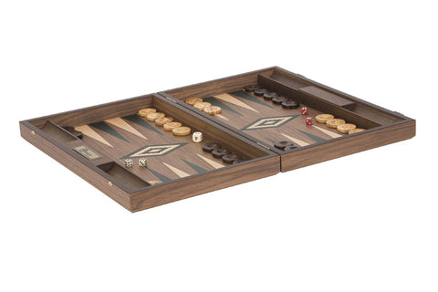 Uber Games Walnut Backgammon Set - Green - LawnGames