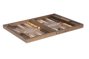Uber Games Walnut Backgammon Set - Blue - LawnGames