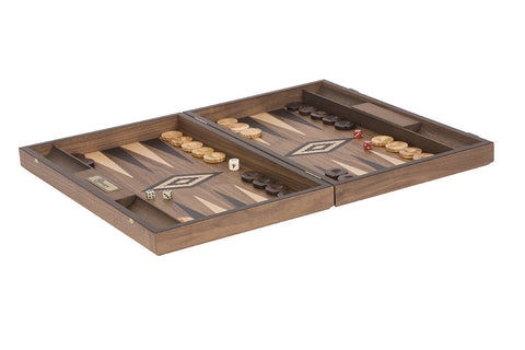Uber Games Walnut Backgammon Set - Black - LawnGames