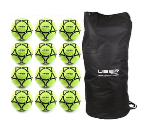 Uber Soccer Indoor Felt Soccer Ball - Neon Yellow - Bundle - 12 Balls - LawnGames