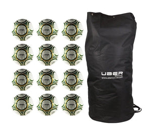 Uber Soccer Green/Gold Futsal Ball Bundle - 12 Pack - LawnGames