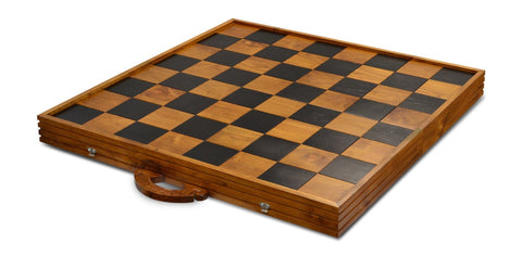 "MegaChess MegaBox Teak Giant Chess Board With 4 Inch Squares - 2' 10"" x 2' 10"" - LawnGames"