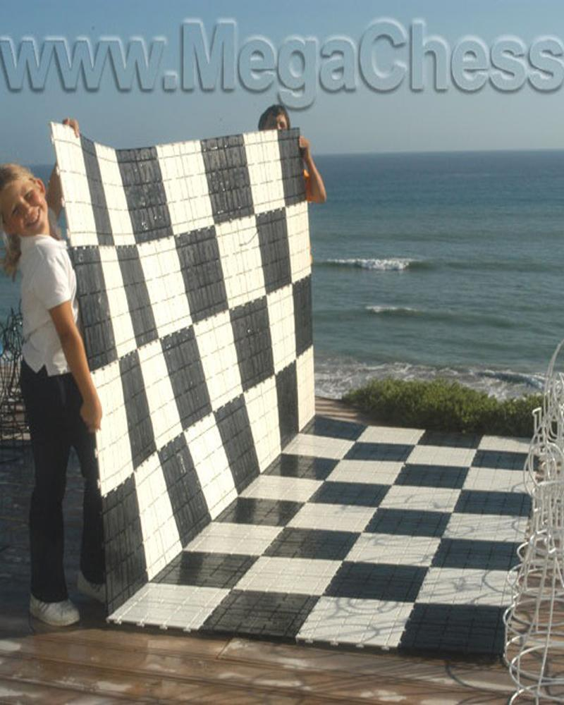 "MegaChess Commercial Grade Hard Plastic Roll Up Giant Chess Board With 13 Inch Squares 8' 8"" x 8' 8"" Available with ADA Compliant Safety Edge Ramps"