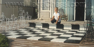 "MegaChess Commercial Grade Hard Plastic Roll Up Giant Chess Board With 13 Inch Squares 8' 8"" x 8' 8"" Available with ADA Compliant Safety Edge Ramps - LawnGames"