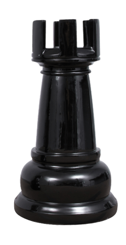 MegaChess 23 Inch Black Fiberglass Rook Giant Chess Piece