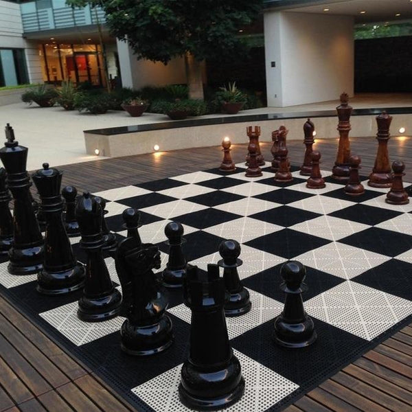 MegaChess Commercial Grade Roll Up Giant Chess Board With 24 Inch Squares 16' x 16' Available ADA Compliant Safety Edge Ramps