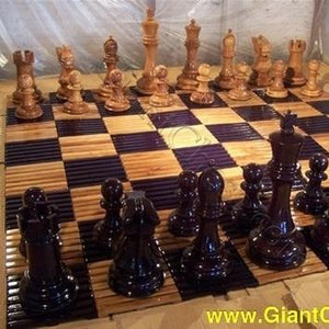 "MegaChess Slotted Teak Giant Chess Board With 8 Inch Squares 5' 4"" x 5' 4"" - LawnGames"