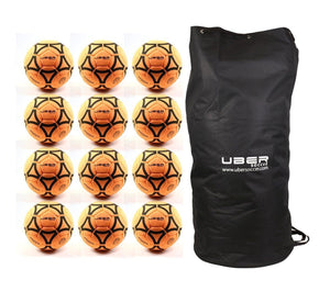 Uber Soccer Indoor Felt Soccer Ball - Orange - Bundle - 12 Balls - LawnGames