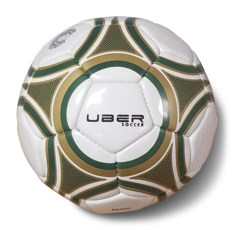 Uber Soccer Skills Mini Soccer Ball - Size 1 - Green and Gold - LawnGames