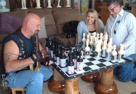 MegaChess Plastic 8 Inch Beer Giant Chess Set - LawnGames
