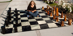 MegaChess 16 Inch Geometric Teak Giant Chess Set - LawnGames