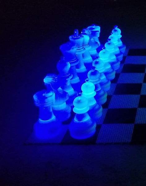 MegaChess 25 Inch Plastic Light-up LED Giant Chess Set  One Side LED and One Side Black | Blue | GiantChessUSA