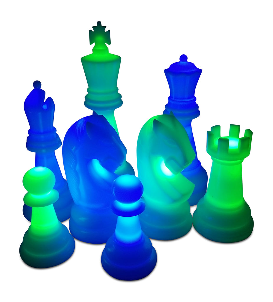 MegaChess 38 Inch Premium Perfect Light-Up Giant Chess Set with Day Time Pieces | Blue/Green/Black | GiantChessUSA