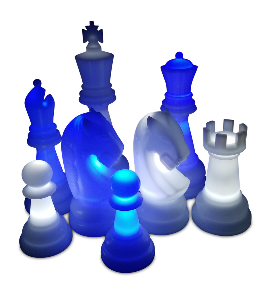 MegaChess 38 Inch Premium Perfect Light-Up Giant Chess Set with Day Time Pieces | Blue/White/Black | GiantChessUSA