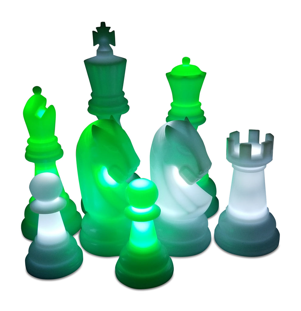 MegaChess 48 Inch Perfect Light-Up Giant Chess Set with Day Time Pieces | Green/White/Black | GiantChessUSA