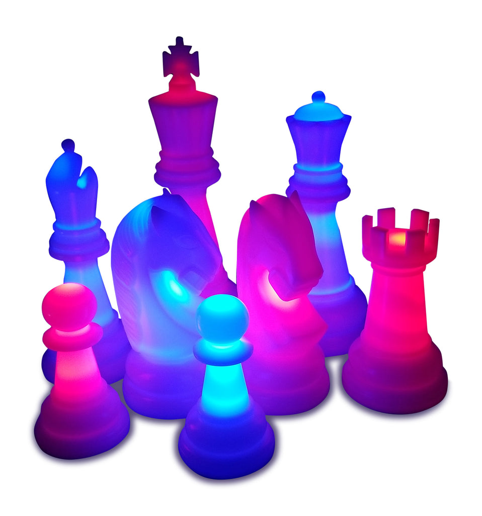 MegaChess 48 Inch Perfect Light-Up Giant Chess Set with Day Time Pieces | Red/Blue/Black | GiantChessUSA