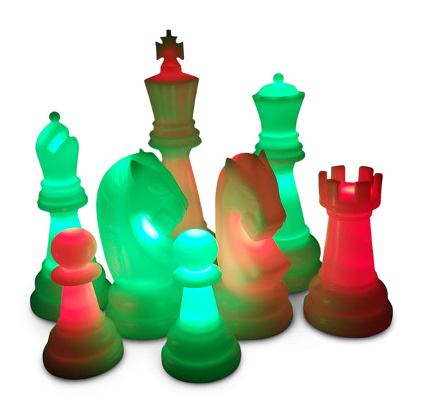 MegaChess 38 Inch Premium Perfect Light-Up Giant Chess Set with Day Time Pieces | Red/Green/Black | GiantChessUSA