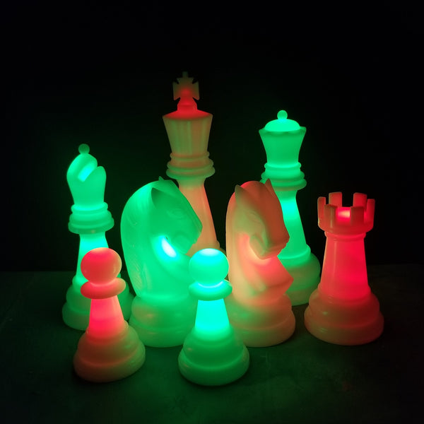 The Perfect 26 Inch Plastic Light-Up Giant Chess Set | Red/Green | GiantChessUSA