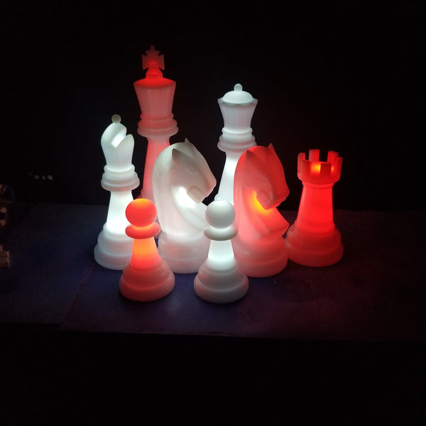 The Perfect 26 Inch Plastic Light-Up Giant Chess Set | White/Red | GiantChessUSA