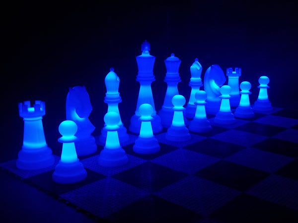 MegaChess 38 Inch Perfect Light-up LED Giant Chess Set  One Side LED and One Side Black | Blue | GiantChessUSA