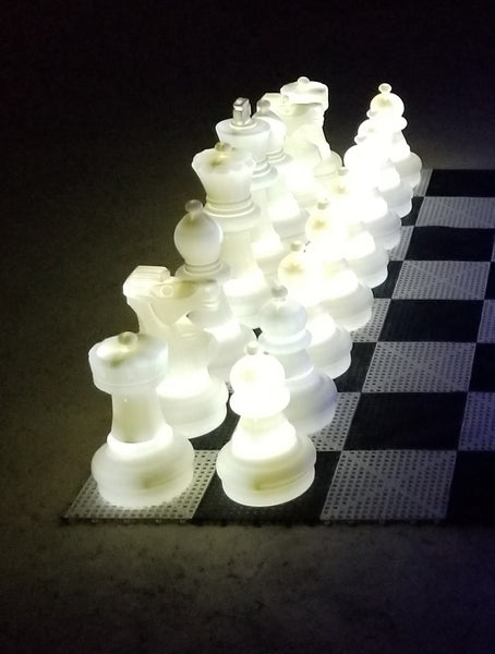 MegaChess 25 Inch Plastic Light-up LED Giant Chess Set  One Side LED and One Side Black | White | GiantChessUSA