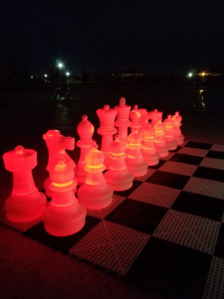 MegaChess 25 Inch Plastic Light-up LED Giant Chess Set  One Side LED and One Side Black | Red | GiantChessUSA