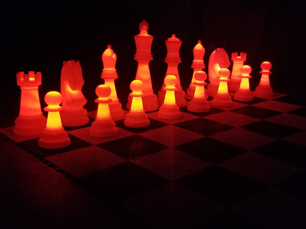 MegaChess 38 Inch Perfect Light-up LED Giant Chess Set  One Side LED and One Side Black | Red | GiantChessUSA