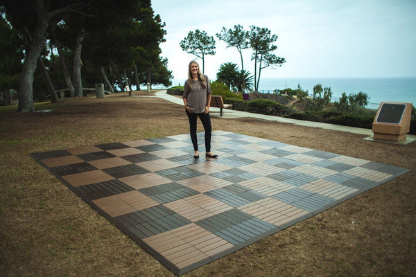 MegaChess Commercial Grade Synthetic Wood Giant Chess Board With 24 Inch Squares 16' x 16' Available ADA Compliant Safety Edge Ramps |  | GiantChessUSA