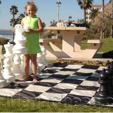 "MegaChess Quick Fold Nylon Giant Chess Mat With 13 Inch Squares - 10' 10"" x 10' 10"" 