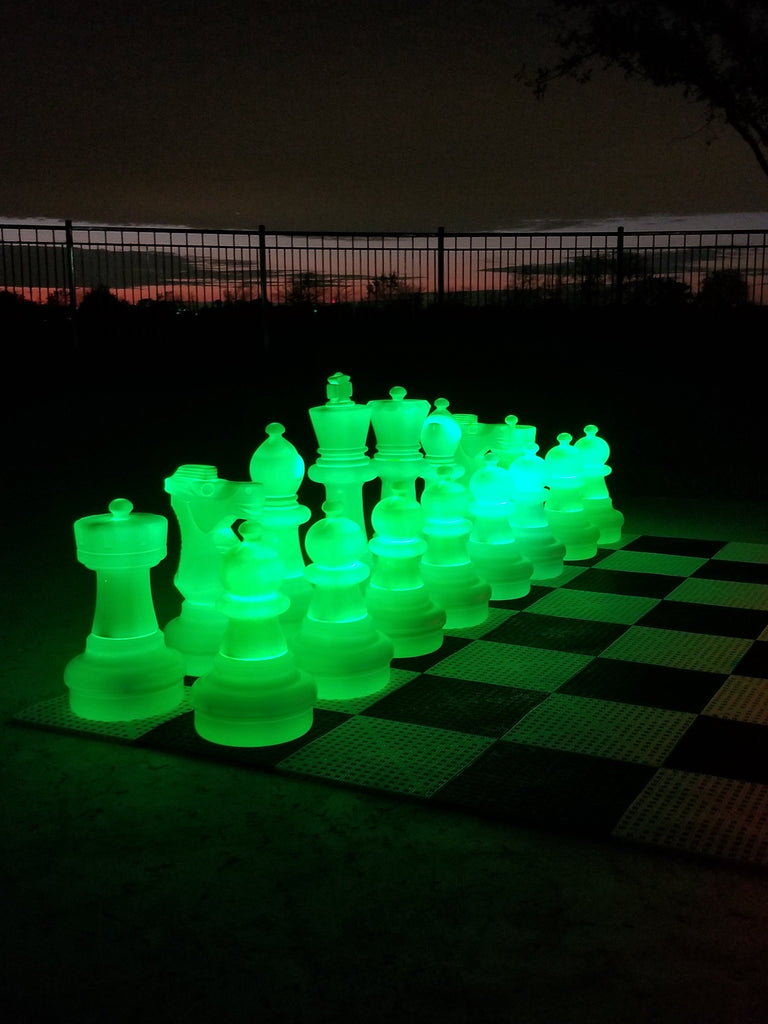 MegaChess 25 Inch Plastic Light-up LED Giant Chess Set  One Side LED and One Side Black | Green | GiantChessUSA
