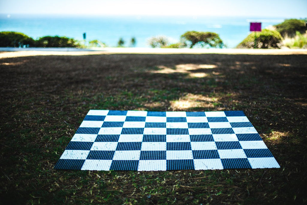 MegaChess Commercial Grade Roll Up Giant Chess Board With 24 Inch Squares 16' x 16' Available ADA Compliant Safety Edge Ramps |  | GiantChessUSA