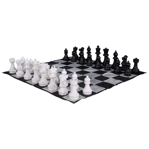 MegaChess Large Chess Pieces and Large Chess Mat - Black and White - Plastic - 12 inch King | Default Title | GiantChessUSA
