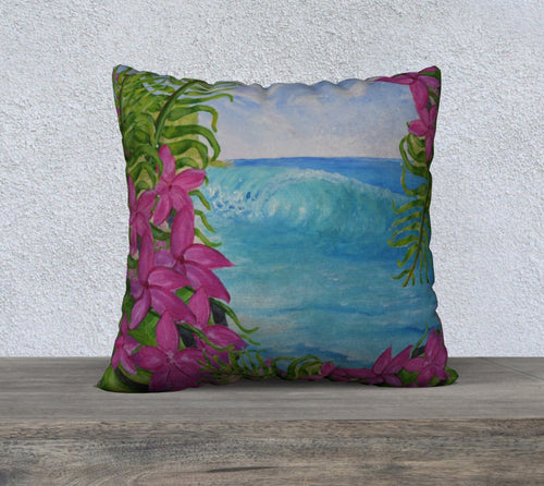Hawaiian wave art pillow case. Tropical view, surfer home, surf shack, luxury pillow cover.