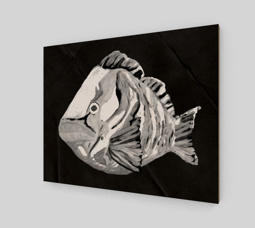 Ghost Grouper Art Print on Wood