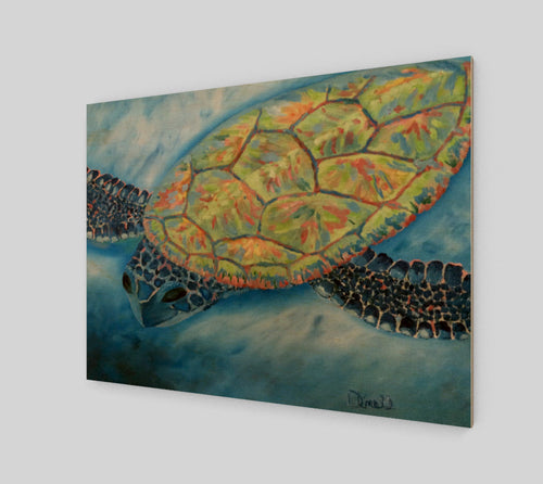 Journey Turtle Wood Print