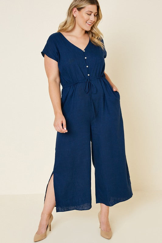 Navy Linen Jumpsuit Plus