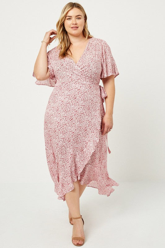 Floral Wrap Maxi Plus Dress
