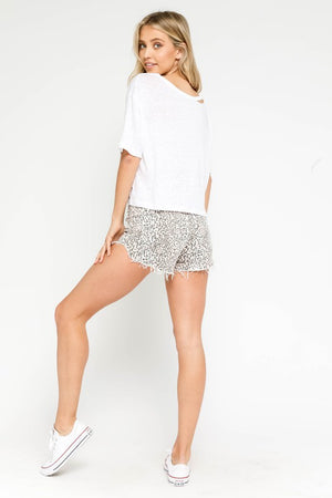 Leopard Distressed Shorts
