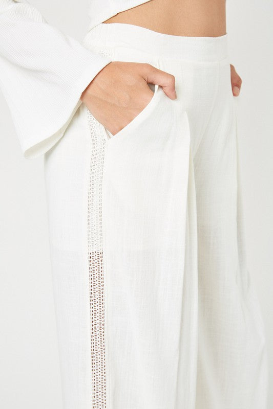 Crochet Lace Wide-Leg Pants
