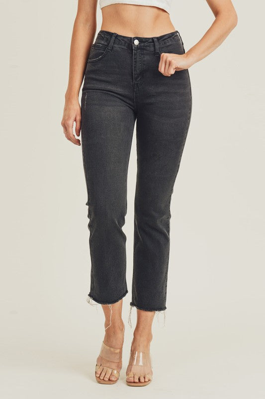 Rise Raw Hem Straight Jeans