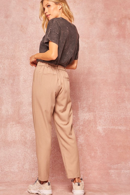 Pinstripe Pleated Pants