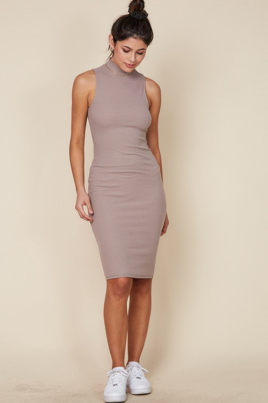 Kendall Turtleneck Midi Dress (mocha)