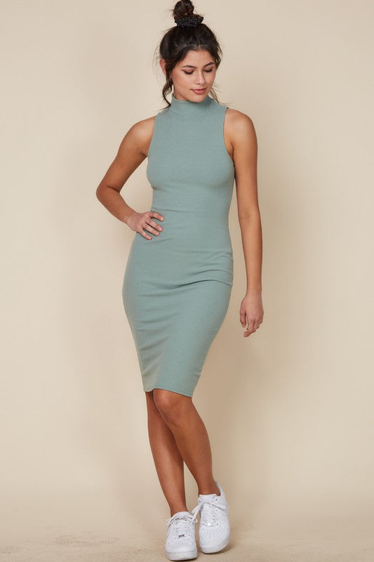 Kendall Turtleneck Midi Dress (Sage)