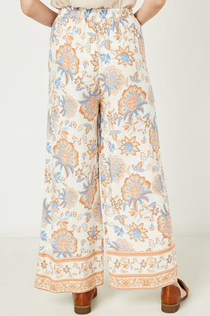 Floral Border Wide Leg Pants